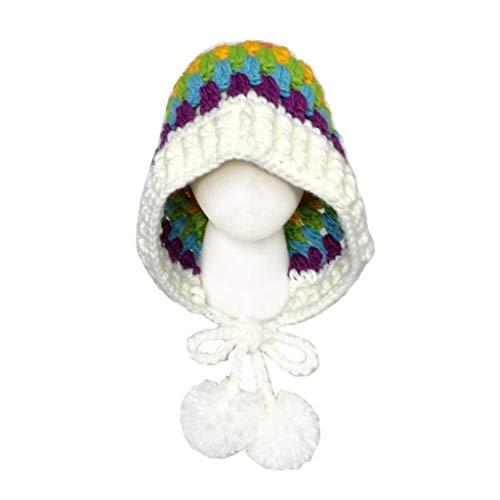 Celucke - Gorro de Punto para niños, diseño navideño, Mujer, Color Blanco, tamaño Tamaño Libre
