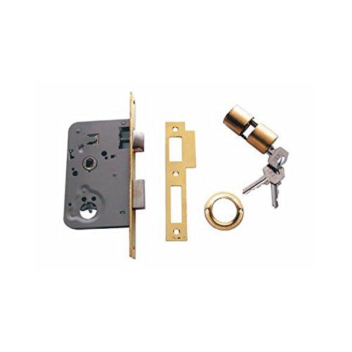 Tesa Assa Abloy, 201040HL, Cerradura de embutir para puertas de madera, Función de entrada, Acero Latonado