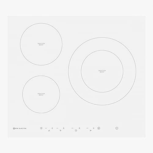 EAS ELECTRIC SMART TECHNOLOGY | EMIH2813FW | Placa de inducción 60cm de ancho | Cristal blanco | 3 zonas de cocinado | zona doble de hasta 28cm | Temporizador | Apagado de seguridad | Función Booster