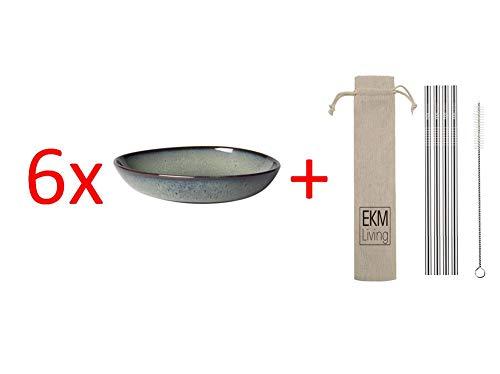 Villeroy & Boch Lave gris Schale flach klein 6 Stück Nr. 1042593810 und 4er Set EKM Living Edelstahl Strohhalme
