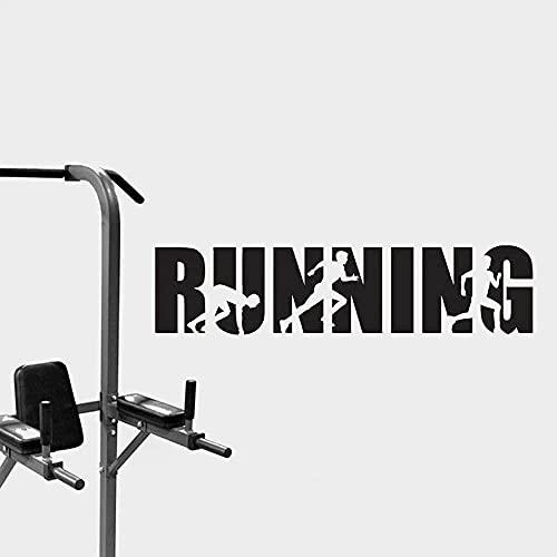 Running word letras etiqueta de la pared desmontable sala de correr gimnasio vinilo calcomanía decoración running refranes arte de la pared mural 144x34cm