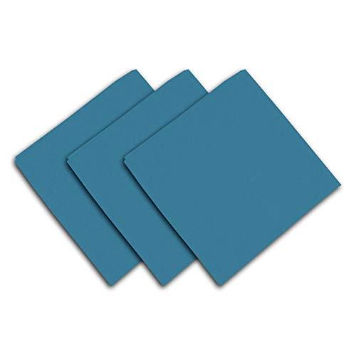 Soleil d'ocre Lote de 3 servilletas de algodón Panama Azul