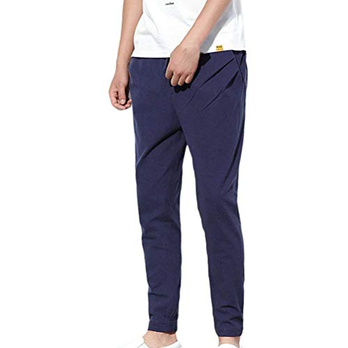 "BoBoLily Herren Chino Hose Relaxed Sporthose Jogging Hose Chinohose Stoffhose Lang Harem Pants Mens Gerade Trousers (Color : Dunkelblau, Size : Waist 34\""-36\"")"