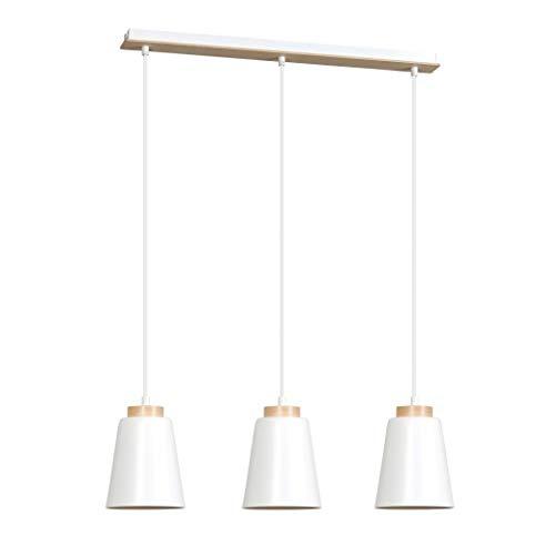 Pendelleuchte Weiß Metall Holz 3x E27 Skandinavisch ROGER Esszimmer Lampe Esstisch Wohnzimmer