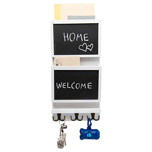 Rustic 2-Slot Mail Sorter Organizer for Wall with Chalkboard Surface & 3 Double Key Hooks - Wooden Wall Mount Mail Holder Organizer – Wall Décor for Entryway Made of Paulownia Wood - White