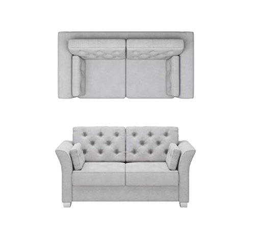 BMF Kenedy Sofá de calidad de 2 plazas en tela o piel sintética, diseño clásico de línea elegante; estilo Chesterfield, personaliza tu tapicería