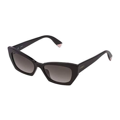 FURLA Gafas de sol SFU334 700Y 54 – 18 – 135 para mujer, color negro brillante, lentes verde degradado