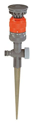 GARDENA Comfort-Kreisregner Vario: Sprühregner für gleichmäßige Beregnung, für Flächen bis 225m², Wurfweite 8.5 m, 7-stufige Sektoreneinstellung von 90° - 360 °, stabiler Metall-Spike (1949-20)
