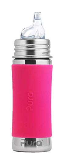 Pura Kiki 11 oz Stainless Steel Sippy Cup with Silicone Sleeve, Pink (Plastic Free, NonToxic Certified, BPA Free)