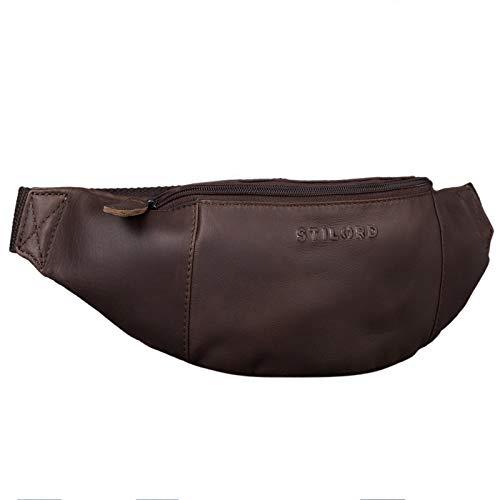 STILORD 'Shawn' Leder Gürteltasche groß Vintage Bauchtasche Festivaltasche Hüfttasche für Herren und Damen 7 Zoll Reisetasche Voll-Leder, Farbe:Valencia - braun
