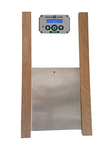 ChickenGuard 'Premium' Automatic Chicken Coop Pop Hole Door Opener & Closer with Timer & Light Sensor Plus Our Classic 30 x 40cm Aluminium Door & Oak Runner Kit