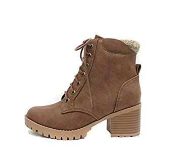 Soda Single Lug Sole Chunky Heel Combat Ankle Boot Lace up w/Side Zipper  7 Light Brown