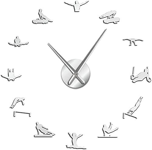 Reloj de Pared de Gran tamaño para Hombre, Gimnasia artística, Manos largas, 3D, Reloj de Pared DIY, Regalo para Atleta, Deportista, Reloj acrílico autoadhesivo-47 Pulgadas