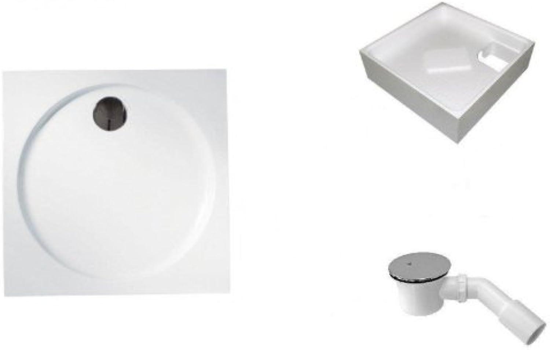 Galdem Duschwannen Set Henriqua, 100x100x3,5 cm, hochwertiges Duschen komplett SET Besteehend aus einer flachen Rechteck Acryl Design Duschwanne, Wannentrger aus S
