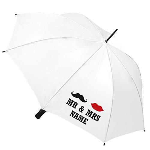 Herz & Heim® Hochzeits-Schirm mit Personalisierung - Motiv zur Auswahl Mr & Mrs