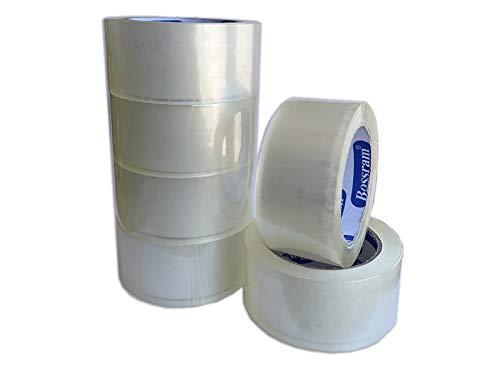 PACK 6 ROLLOS CINTA ADHESIVA PARA EMBALAR 48mm x 90M TRANSPARENTE. Precinto adhesivo de embalaje extra fuerte y resistente para empaquetar y cajas