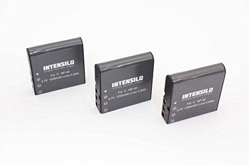 INTENSILO 3 x Li-Ion Akku 1250mAh (3.7V) für Videokamera Camcorder Praktica 10.10 FHD, DV-HD12, DVC 14.1 HDMI, DX-1, DX1 wie NP-40, PAC-0040.