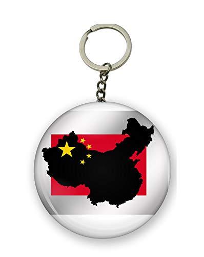 Gifts & Gadgets Co. Schlüsselanhänger Chinakarte auf China Flagge, Schlüsselanhänger, Flaschenöffner, 58 mm