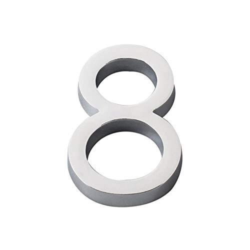 KJBGS Stilvoll und schön 3D Silber Zahlen Aufkleber 0 bis 9 Ziffern Selbstklebende Hausnummer Plate Sign Apartment Hotel Büro Türadresse Postfachnummer Hausnummer (Color : Number 4)
