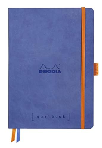 Rhodia 117748C taccuino morbido Rhodiarama Goalbook, A5 (14,8x21 cm), 240 pag numerate, dots, carta avorio Clairefontaine 90 g/m², 2 nastri, chiusura con elastico,copertina in similpelle blu zaffiro
