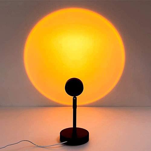 Lámpara de proyección de puesta de sol Lámpara de arco iris USB, luz LED Puesta de sol Lámpara Rotación Rainbow Proyección Lámpara Atmósfera Noche Luz para sala de estar Decoración de dormitorio, Suns