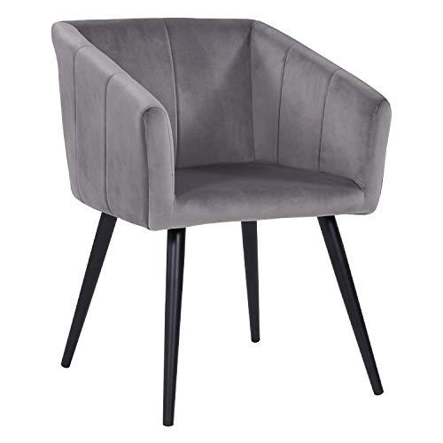 Esszimmerstuhl aus Stoff (Samt) Farbauswahl Retro Design Stuhl mit Rückenlehne Sessel Metallbeine Duhome 8065, Farbe:Grau, Material:Samt