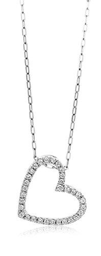 Miore Kette Damen 0.17 Ct Diamant Halskette mit Anhänger Herz Kette aus Weißgold 18 Karat / 750 Gold, Halsschmuck mit Diamanten Brillianten 45 cm lang