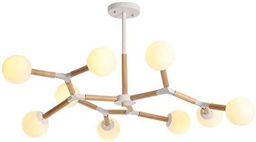 MAZ Luge de Lustre Pendentif Lampe Suspendue Lustre Moderne Verre Led, Structure En Métal Et En Chêne Pendant La Lampe, Luminaire de Plafond Décoratif de Mode,9 Têtes