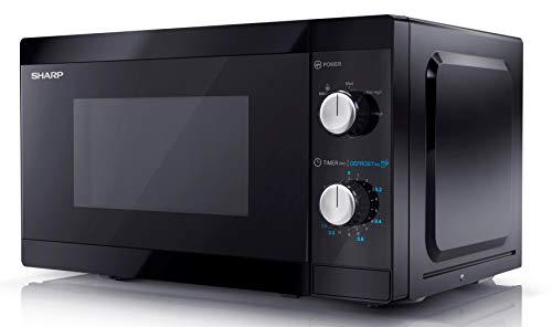 SHARP YC-MS01EB Mikrowelle mit Auftaufunktion/ 800 Watt/ 20 Liter/ 5 Leistungsstufen /Inkl. Drehteller, Mechanische Steuerung