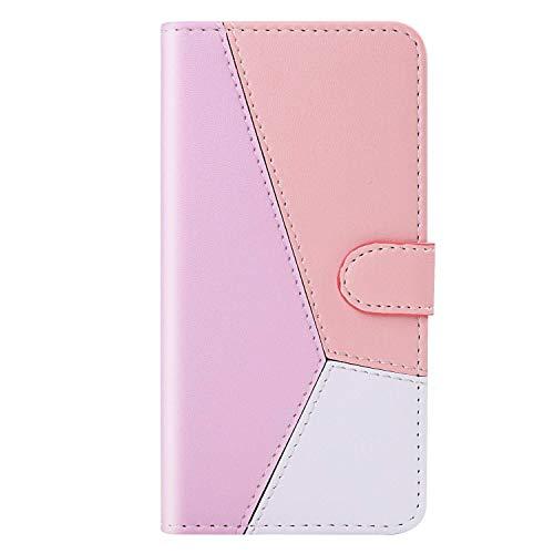 vingarshern Hülle für Sony Xperia Z6 Handytasche Klappbares Magnetverschluss Lederhülle Flip Standfunktion Schutzhülle Xperia Z6 Hülle Brieftasche-(Rosa+Roségold+Weiß) MEHRWEG