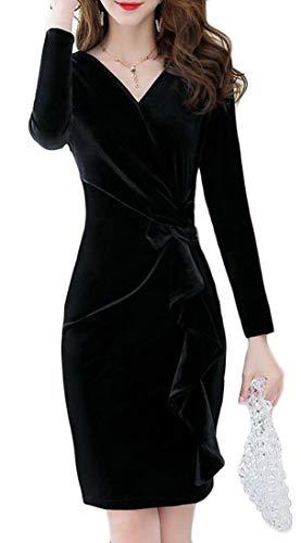 H&E Damen Kleid mit V-Ausschnitt, langärmelig, Samt, figurbetont, Midikleid Gr. Medium, Schwarz