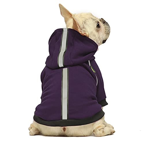 Fitwarm Thermal Dog Coat with Safety Reflective Stripe Outdoor Puppy Winter Clothes Cat Jacket Pet Hoodie Outfits Pullover Doggie Sweatshirt Purple Small