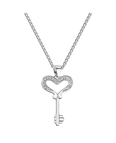 *Beforia Paris* - * Herzschlüssel * - Zirconia Swarovski Elements - Tolle Halskette - mit Silberkette aus 925 Silber mit Swarovski® Elements - Halskette mit Schmucketui Model 05