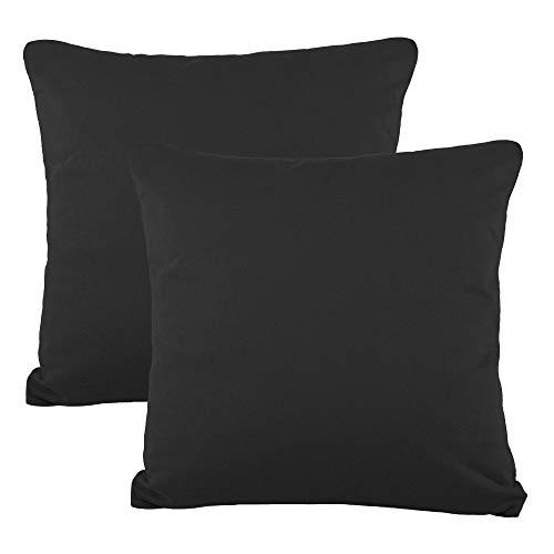 CelinaTex BeNature Kissenbezug Doppelpack 50 x 50 cm schwarz Baumwolle Dekokissen Bezug Jersey