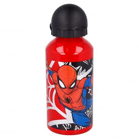Borraccia Bottiglia in Alluminio per Bambini 400ml con beccuccio retraibile (Spiderman Marvel)
