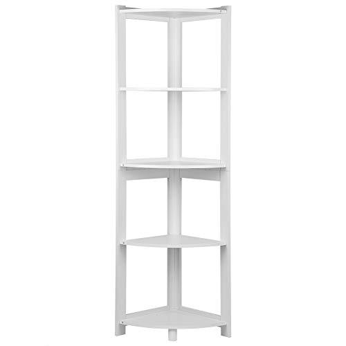Tisany Corner Book Shelf - 5-Tier Corner Bookshelf Storage Cabinet Bookcase Rack Organizer CD Book Decor