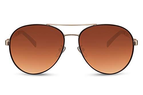 Cheapass Sunglasses - Gafas de sol estilo Piloto marco de Metálicas dorado con pintura marrón alrededor de las lentes de degradado marrón y patillas especiales Protección UV400 Hombre Mujer