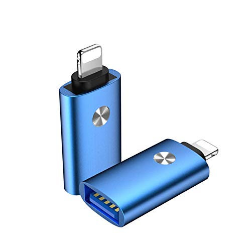 YTG USB OTG Adapter For iPhone X XR Xs 11 Pro Max 6 6s 7 8 Plus SE2 iPad iOS 12 13 Data Converter Connect Camera SD Card U Disk MIDI (Color : Blue)