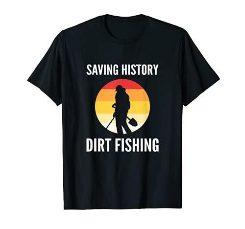 Pesca de la suciedad Ahorro Historia de Metal Detección Camiseta