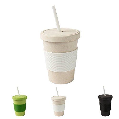 BIOZOYG - Tazza per caffè da asporto, 400 ml, con coperchio a vite e cannuccia, colore: Bianco