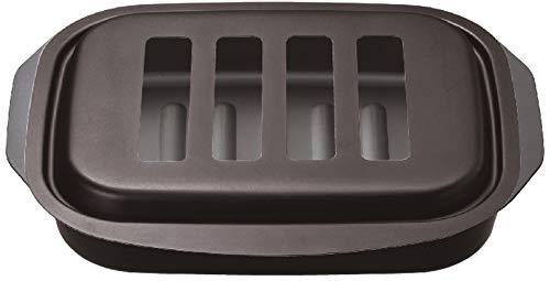 イシガキ産業 グリル オーブン ブラック 約縦26.5x横18.7x高さ3.5cm グリル名人 焼き物 調理 最適 蓋付き 4162 黒