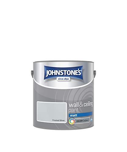 Johnstone's 308632 - Pintura para pared y techo (emulsión mate, 2,5 L), color plateado