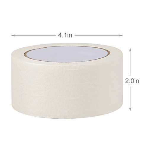 White Masking Tape,12 Pack Wide Purpose Masking Tape for Labeling,for Painting, Home, Office, School Stationery, Arts, Crafts etc. 2 Inch Wide, 32 Yard/Roll Photo #2