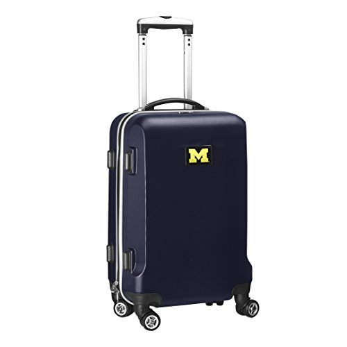 Denco NCAA Michigan Wolverines Carry-On Hardcase Luggage Spinner, Navy