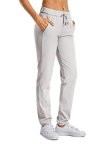 CRZ YOGA Femme Pantalon Décontracté Sport Pantalons sur Le Pouce Longueur Longue avec Poches Lait de Coco Blanc 42