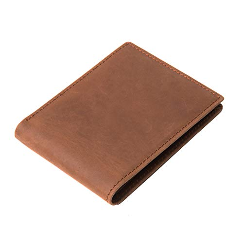 Polare Men's RFID Blocking Vintage Italian Genuine Leather Slim Bifold Wallet