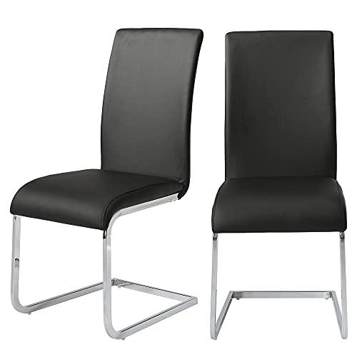Juego de 4 sillas de comedor de tela cómoda, modernas sillas de cocina de metal cromado, patas con respaldo alto, sillas de comedor para salón, hogar, cocina, oficina, sala de espera