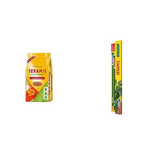 Seramis Ton-Granulat als Pflanzenerden-Ersatz für Zimmerpflanzen, Grün-, Blühpflanzen und Kräuter, Pflanz-Granulat, Ton-Farbe, 7,5 Liter & Gießanzeiger 26 cm für alle Topfpflanzen, 2 Stück, grün