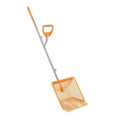 ERGIESHOVEL ERG-MCKS22 Scoop, Steel Impact Resistant Muck Rake w/Auto Sifting Fork Basket, 22 Plastic Tines, 54-Inch Shaft, w/Patented Ergonomic Second Handle, 54 inches, Gray/Orange