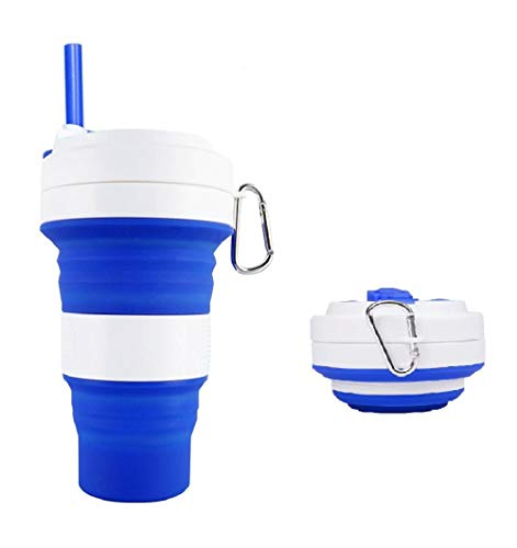 Ufamony Collapsible Silicone Cup Portable Travel Cup Reusable Drinking Cup Coffee Cup Folding Cup for Home Travel...